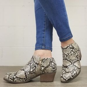 Shoes - Python Snake Print Ankle Booties - J
